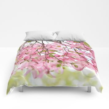 pink dogwoods Comforters by Sylvia Cook Photography