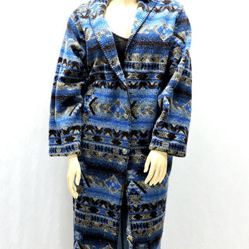 Southwestern blanket coat / size M / L / 12 14 / tribal boho full length sweater / coat / wool / fleece / 80s Rods made in USA