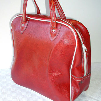 Merlot Weekender Travel Bag  Vintage Red Tote