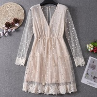 Women Flare Sleeve Tulle V-neck Polka Dot Lace Dress Casual Pullover Mesh Gauze Elastic Slim High Waist Voile Ruffles Dress