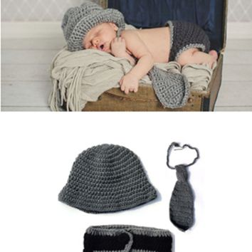 Grey 3 Piece Knit Baby Outfit Tie, Hat Diaper Cover Photo Prop - CCC207