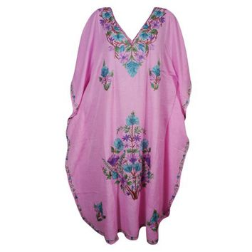 Mogul Bohemian Womens Kashmiri Maxi Caftan Floral Hand Embroidered Pink Cover Up Evening Dress - Walmart.com