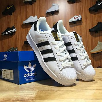 Adidas Superstar Shell-toe Flats Sneakers White Black Line Gold Logo Causel Sport Shoes