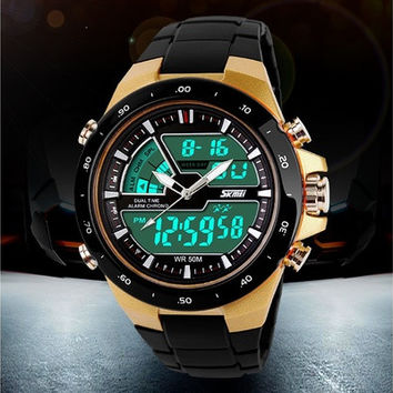 Men's Dual Time Analog-Digital Plastice Band Sports Wrist Watch [9210700099]