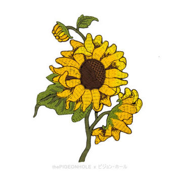 Iron On Sunflower Patch Embroidered flower Patch iron-on patches sew on patch