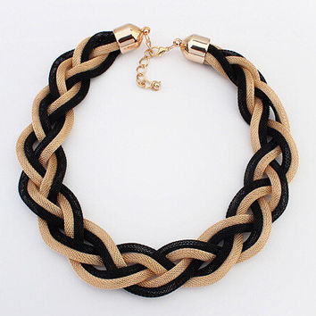 2016 new fashion Bohemian Punk Fashion Chunky Metal braid Twist Chain necklaces & pendants statement Choker Necklace Women