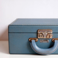 Vintage LUCE Blue Travel Case, Vintage Suitcase, Vintage Luggage