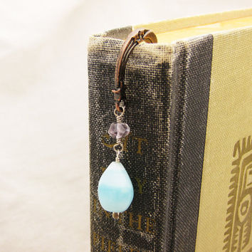 Gemstone Copper Bookmark Peruvian Opal with Faceted by byjodi