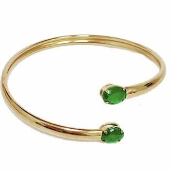 Emerald Ends Gold plated Cuff