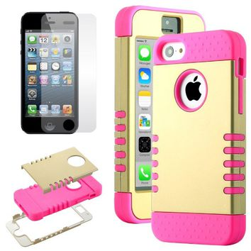 Pandamimi ULAK(TM) Deluxe Hybrid High Impact Soft Silicone + Hard PC Case Cover for Apple iPhone 5C with Screen Protector (Gold+Rose Pink)