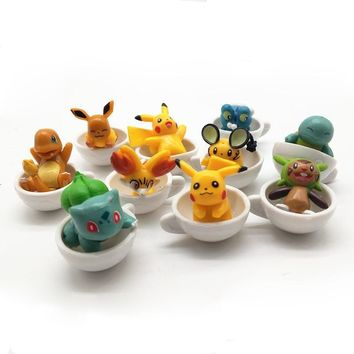 car ornaments 10pc Cup  Set Animal Mini Toy Miniature pvc Craft for Auto Home Office Desktop DecorationKawaii Pokemon go  AT_89_9