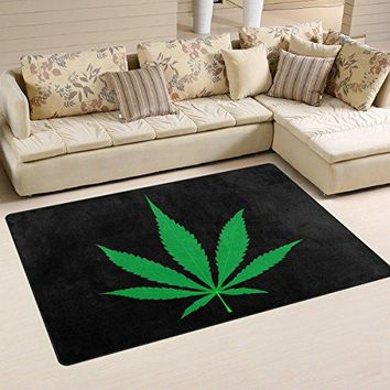 WOZO Green Marijuana Leaf Black Artwork Area Rug Rugs Non-Slip Floor Mat Doormats for Living Room Bedroom 31 x 20 inches