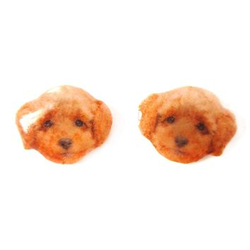 Realistic Toy Poodle Puppy Head Shaped Animal Resin Stud Earrings | Made To Order | Handmade