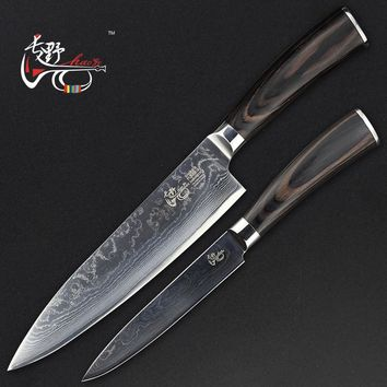 HAOYE 2 piece damascus kitchen knives set chef knife and utility knife slicer paring cutter ideal gift sale