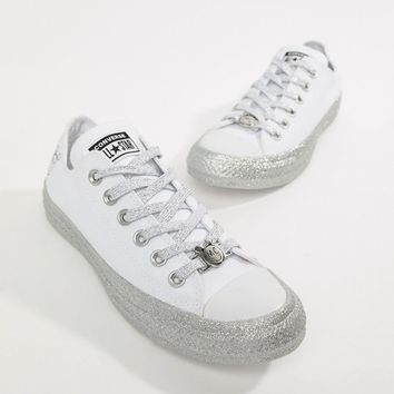 Converse X Miley Cyrus Chuck Taylor All Star Low Sneakers White And Silver Glitter at asos.com