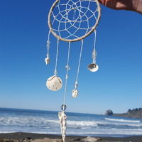 Coastal Dream Catcher with Seashells and Crystsl