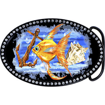 Austrian Crystal Nautical Fish Ocean Belt Buckle