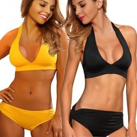 Bikini Swimwear Strappy Bandeau Padded Bra Top Brazilian Bottom Black/Yellow