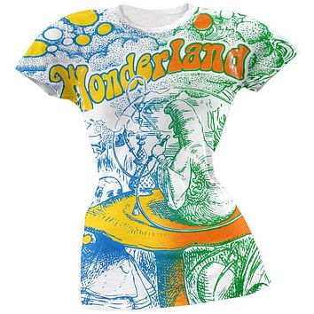 Alice In Wonderland - Go Ask Alice All-Over Juniors T-Shirt