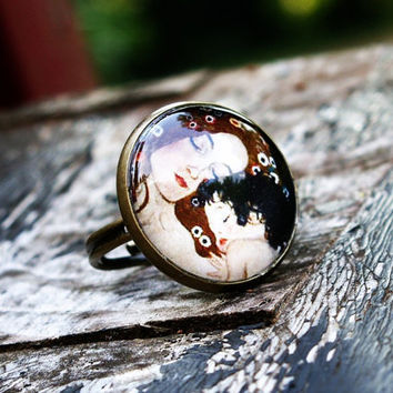 Klimt Art Ring Mother Child Glass Dome Bronze by tiffanymcfarland