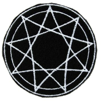 White 9 Nine Pointed Star Occult Symbol Patch Iron on Applique Alternative Clothing