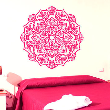 Mandala Wall Decal Lotus Stickers Yoga Studio Vinyl Decals Flower Art Mural Home Decor Interior Design Bedroom Sticker Bohemian Decor KI55