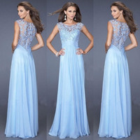 NEW-Women Short Sleeve Prom Ball Party Evening Cocktail Lace Dress Bridesmaid Dress