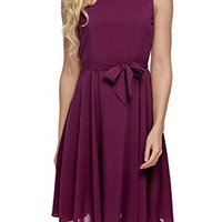 Purple Red Sleeveless Self-Tie Chiffon Pleated Dress
