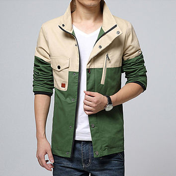 Two Toned Color Contrast Zip Jacket