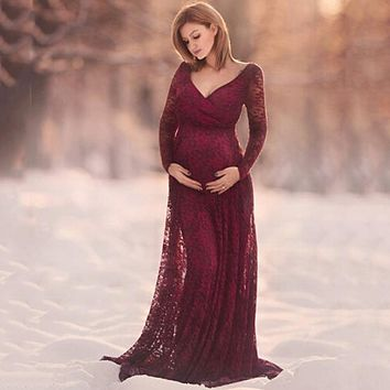 Women Dress Maternity Photography Props Lace Pregnancy Clothes Elegant Maternity Dresses For Pregnant Photo Shoot Cloth Plus