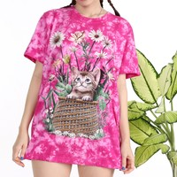 Glitters For Dinner — kitty In the Basket Tee in Pink Tie Dyed