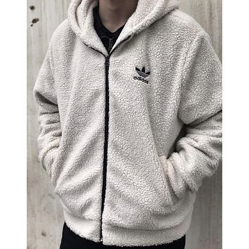 ADIDAS winter new men's classic logo high quality hooded sweater white