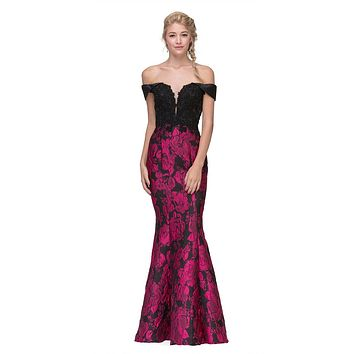 Off-the-Shoulder Floral Printed Prom Gown Black/Fuchsia