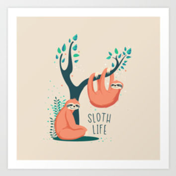 Sloth Life Collection By Printapix | Society6