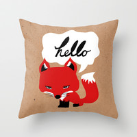 The Fox Says Hello Throw Pillow by Beth Thompson