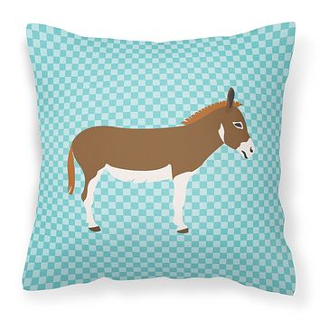 Miniature Mediterranian Donkey Blue Check Fabric Decorative Pillow BB8021PW1818