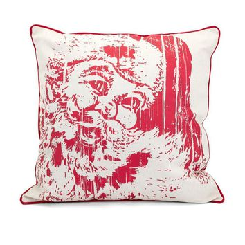 Homestead Christmas Vintage Santa Pillow - Red - Benzara