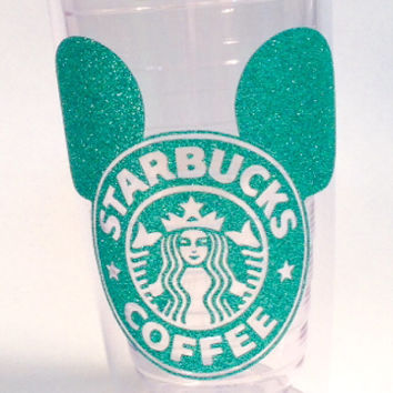 Starbucks * Mickey Ears * Latte  or coffee 16 oz.  or 24 oz. Personalized Glitter Tumbler for Hot or Cold Beverages.