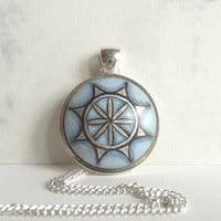 Stylish Blue Necklace Inspired by Sacred Geometry,  Blue Pendant, Hand Painted, Geometric Art,  Wood Jewelry