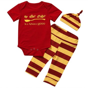 Newborn Baby Boy Outfits Harry Potter short sleeve 0-neck red  Bodysuit +striped Pants+Hat Clothes 3PCS Set 0-18M