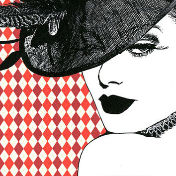 Harlequin Hat Lady print original art fashion art beauty art  modern pop art red white, womans face 80s style