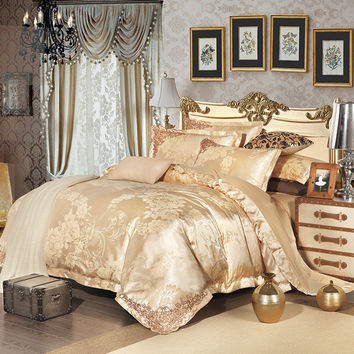 2016 New 100%Cotton Luxury Embroidery Satin Jacquard Bedding Set bedclothes bed linen/sheet set Queen/King Size Bamboo fiber