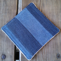 Rustic Recycled Denim and Organic Terry Cloth Sturdy Cloth / Pot Holder / Hot Pad / Dish Rag / Grill Tool / Wash Cloth Gift for Dad