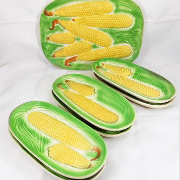 Ceramic Corn Dishes, Corn Platter, Made in Occupied Japan, Vintage Dinnerware