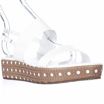 Kate Spade Tasely Two Band Platform Sandals, White Vachetta, 8.5 US