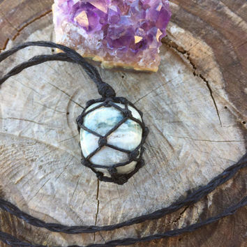 Hemp Necklace: Ocean Jasper Stone Wrapped with Hemp Cord, Crystal Necklace, Hemp Jewelry, Macrame Necklace, Healing Stone, Ocean Jasper