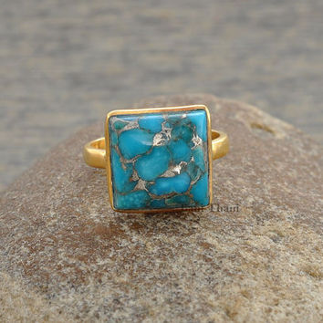 Copper Blue Turquoise 10mm Square Faceted Micron Gold Plated 925 Sterling Silver Gemstone Ring - #1326