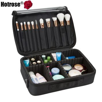 Hotrose Professional Makeup Brush Case 3 Layers Cosmetic Beauty Artist Organizer Makeup Suitcase Large Space with Shoulder Strap