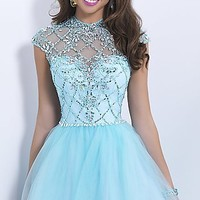 Pale Blue Short Blush Homecoming Dress