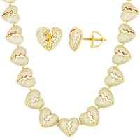 Men's Broken Heart Iced Out Gold Finish Chain Earrings Combo